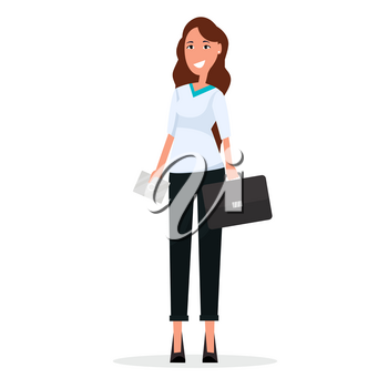Businesswoman in white blouse and black trousers with leather briefcase and envelope isolated on white background vector illustration.