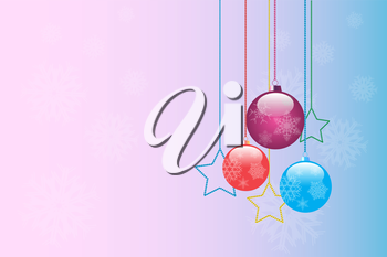 Royalty Free Clipart Image of a Christmas Background With Ornaments and Stars