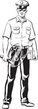 Policeman in uniform carrying a baton and handcuffs and wearing a holstered handgun, black and white hand-drawn vector illustration