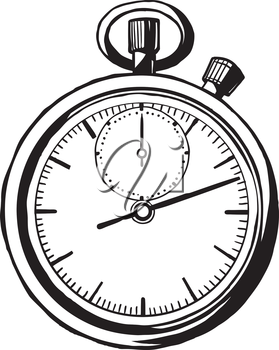 Vintage stop watch with on open faced dial with a secondary movement for the second hand and a top winder for the mechanism, vector hand-drawn illustration