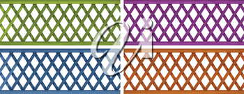 Illustration of the colorful wooden fences on a white background