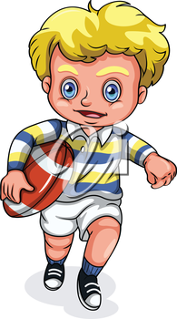 Illustration of a young Caucasian boy playing rugby football on a white background
