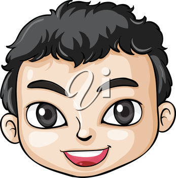 Illustration of a head of an Asian boy on a white background