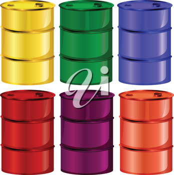 Illustration of the six colorful barrels on a white background