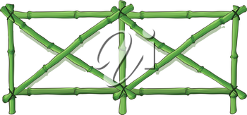 Illustration of a green bamboo fence on a white background