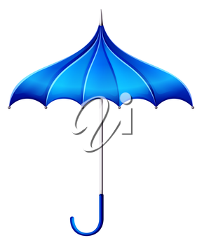 Illustration of a blue umbrella on a white background