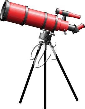 Illustration of a telescope on a white background