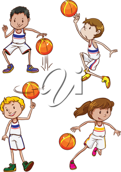 Four energetic basketball players on a white background