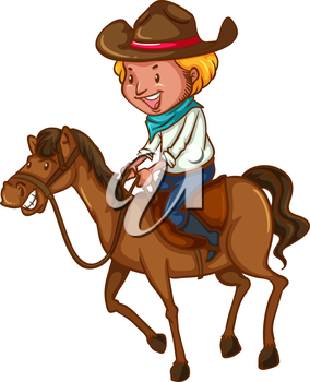 A coloured sketch of a young cowboy on a white background