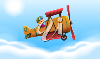Illustration of a plane flying with a smiling pilot