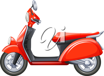 Illustration of a red scooter on a white background