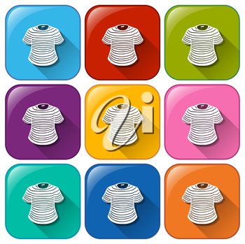 Illustration of the icons with t-shirts on a white background