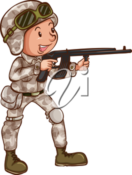 Illustration of a simple drawing of a soldier on a white background