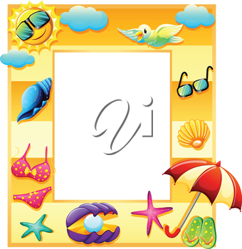 Illustration of an empty template for summer on a white background