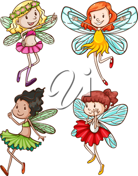 Illustration of the simple sketches of fairies on a white background