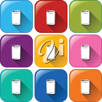 Buttons with cans on a white background