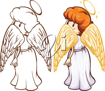 A plain and coloured sketch of an angel on a white background
