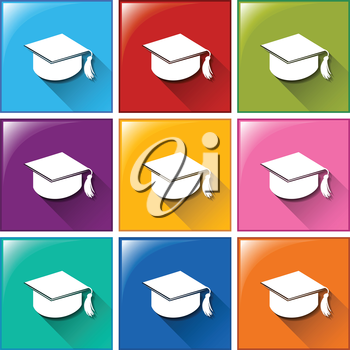 Illustration of the graduation icons on a white background