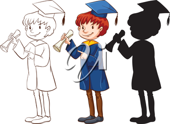 A drawing of a boy graduating in three different colors on a white background
