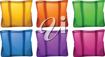 Illustration of the six colorful food bags on a white background