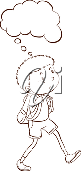 Illustration of a plain sketch of a student thinking on a white background