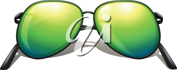 Illustration of a green sunglasses on a white background