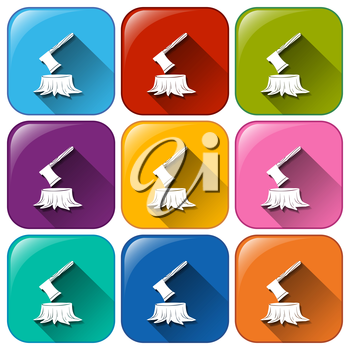 Illustration of the camping icons on a white background