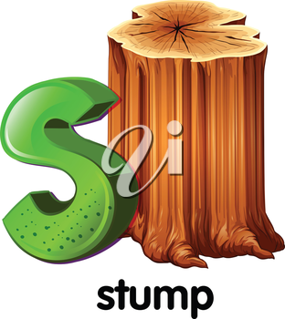 Illustration of a letter S for stump on a white background