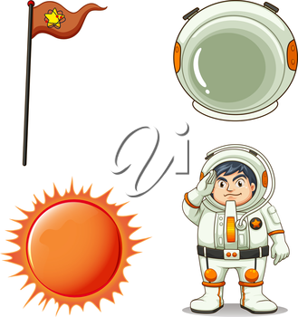 Illustration of an astronaut on a white background