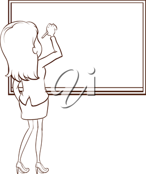 Illustration of a simple sketch of a teacher writing on a white background