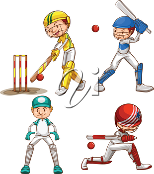 Illustration of the simple sketches of men playing cricket on a white background
