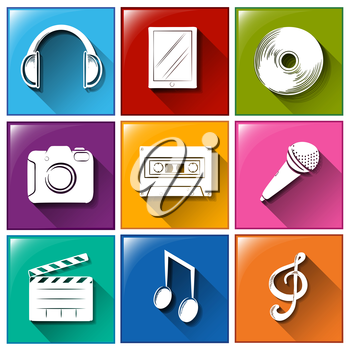 Illustration of the icons with entertainment gadgets on a white background