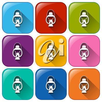Illustration of different color camping icons