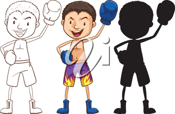 Illustration of the sketches of a boxer in different colors ton a white background
