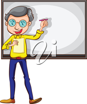 Illustration of a simple sketch of a teacher on a white background