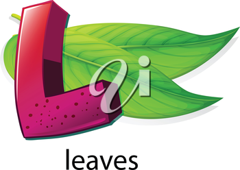 Illustration of a letter L for leaves on a white background