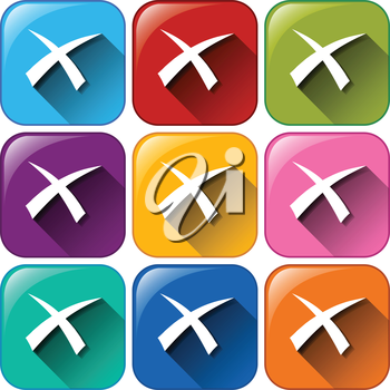 Illustration of the exit buttons on a white background