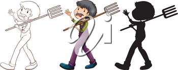 Illustration of the sketches of a gardener in different colours on a white background
