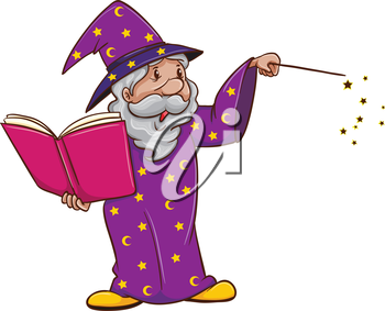 Illustration of a witch using a spell on a white background