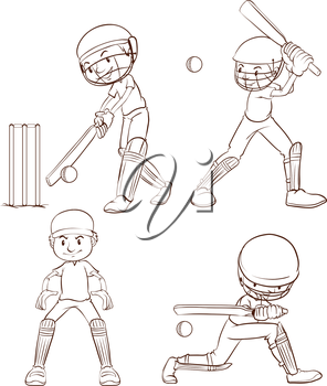 Illustration of the plain sketches of the cricket players on a white background