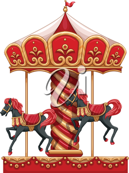 Illustration of a carousel ride with horses on a white background