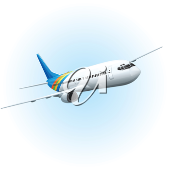 Illustration of an airplane flying in the sky