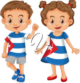 Boy and girl wearing shirt with Cuba flag illustration
