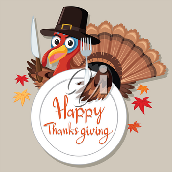 Happy Thanksgiving turkey card illustration