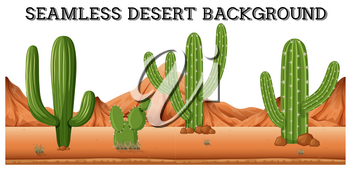 Seamless desert background with cactus plants illustration