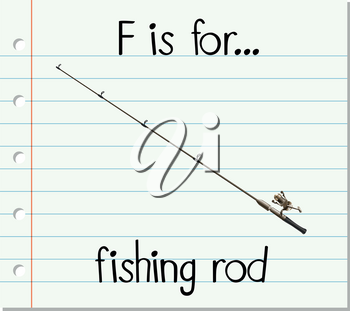 Flashcard letter F is for fishing rod illustration