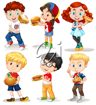 Boys and girls with fastfood illustration
