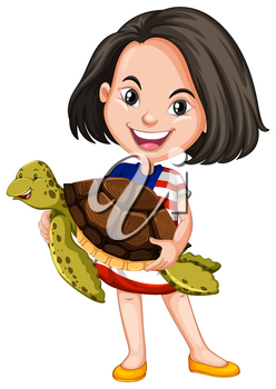 Little girl holding a sea turtle illustration