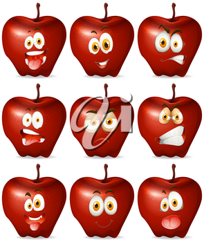 Red apple with facial expression illustration