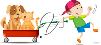 Boy pulling wagon with dog and cat on it illustration